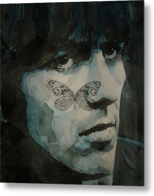 The Beatles Metal Print featuring the painting George Harrison @ Butterfly by Paul Lovering