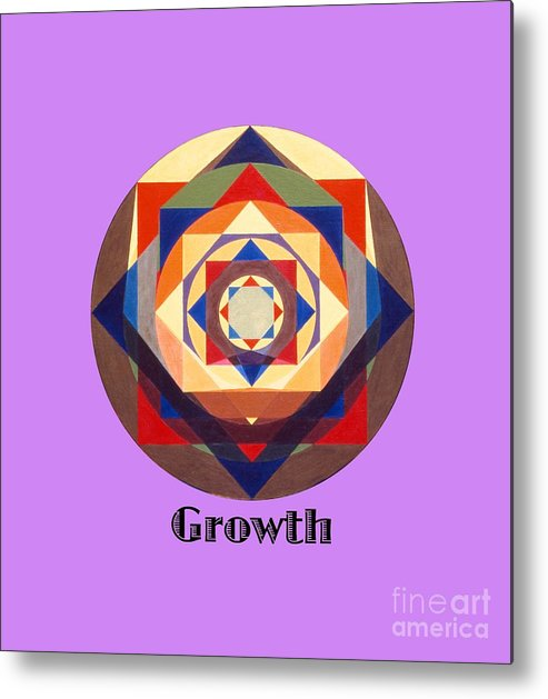 Painting Metal Print featuring the painting Growth text by Michael Bellon