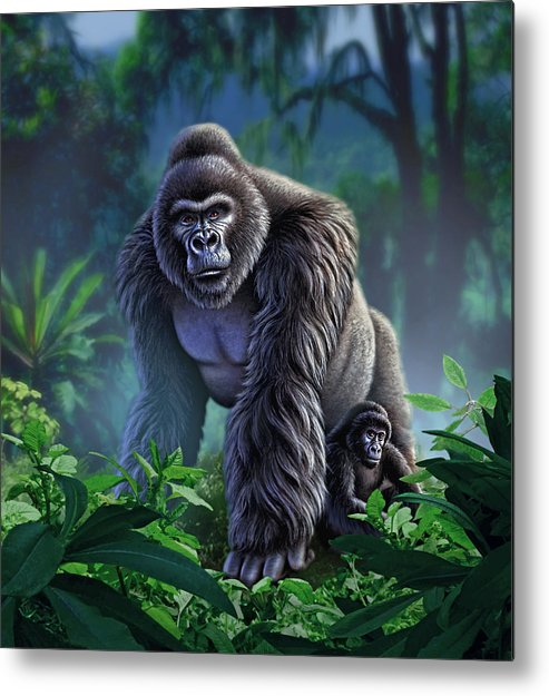 Gorilla Metal Print featuring the painting Guardian by Jerry LoFaro
