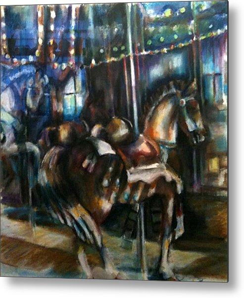 Carrousel Metal Print featuring the painting Hampton Carrousel by Jackie Merritt