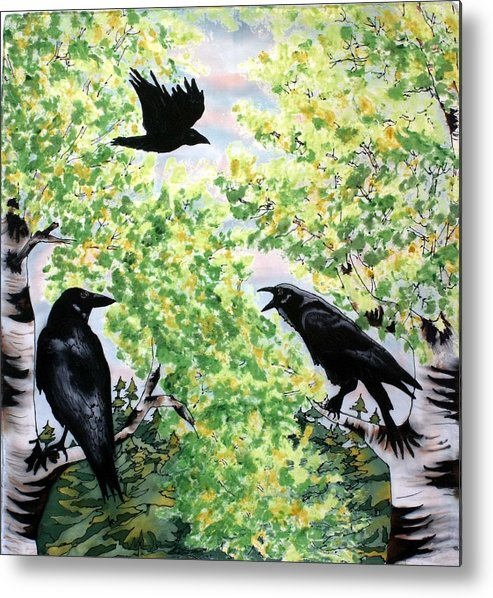 Ravens Metal Print featuring the painting Imparting Wisdom by Linda Marcille