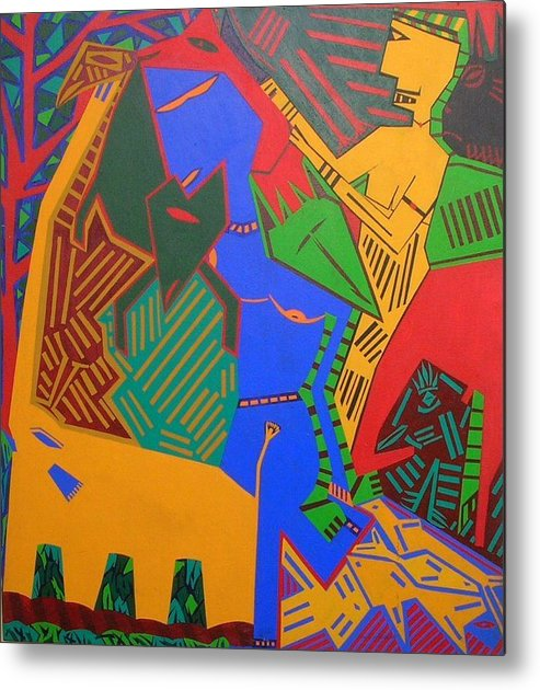 Warrior Forest Woman Animals Metal Print featuring the painting No.281 by Vijayan Kannampilly