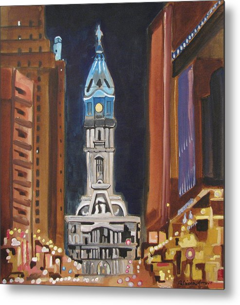 Landmarks Metal Print featuring the painting Philadelphia City Hall by Patricia Arroyo