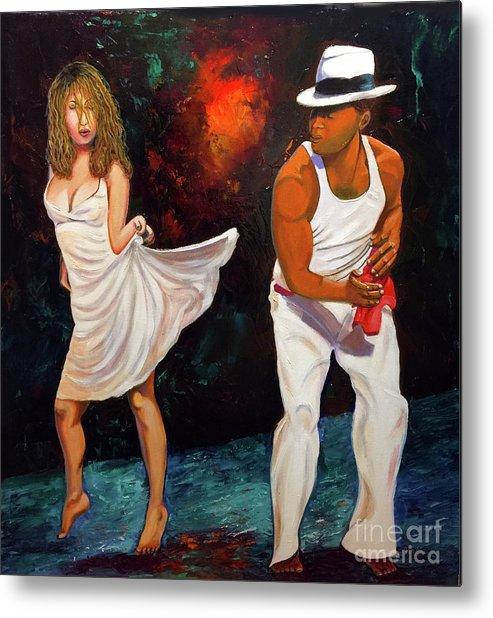 Dancing Cuba Painting Salsa Woman Metal Print featuring the painting Salsa 2 by Jose Manuel Abraham