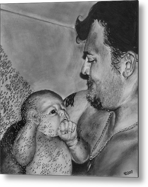 Figure Metal Print featuring the drawing Showered in Daddy's Love by Darcie Duranceau