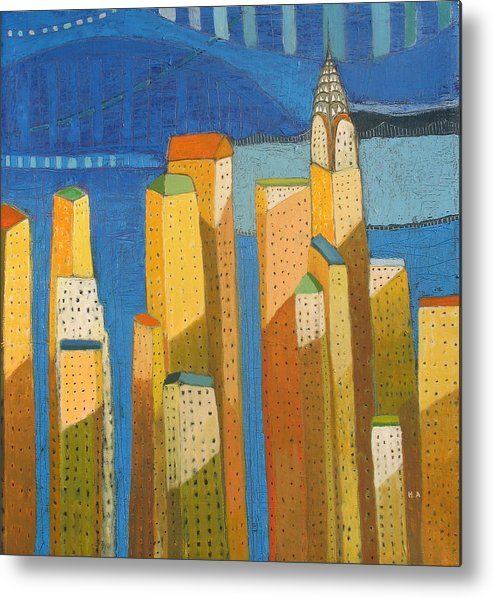 Modern Cityscape Painting Metal Print featuring the painting Nyc Skyline With Blue by Habib Ayat