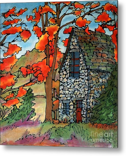 Fall Metal Print featuring the painting Stone Cottage Silk Painting by Linda Marcille