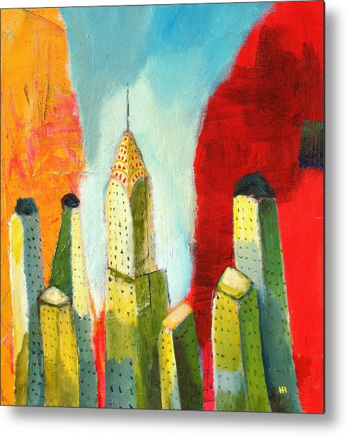 Abstract Cityscape Metal Print featuring the painting The chrysler building in colors by Habib Ayat