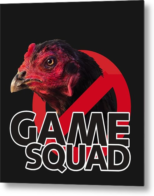 Chicken Poultry Game Thug Mean Metal Print featuring the digital art Game Squad by Sigrid Van Dort