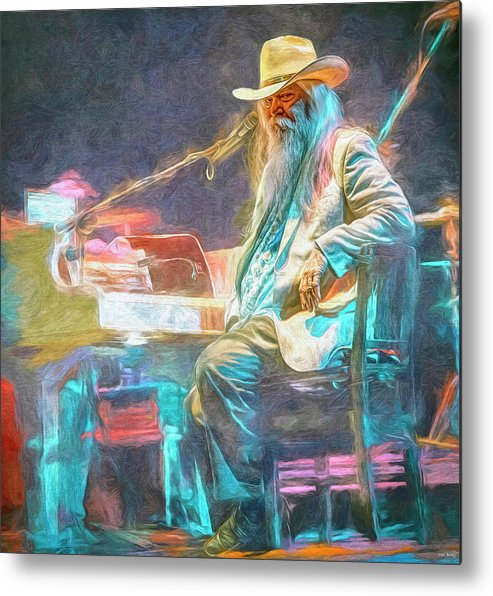 Leon Russell Metal Print featuring the mixed media Leon Russell by Mal Bray