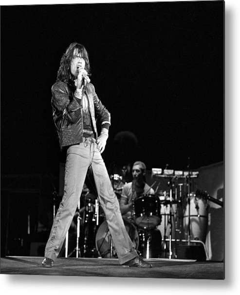 Mick Jagger Metal Print featuring the photograph Photo Of Charlie Watts And Mick Jagger by Graham Wiltshire