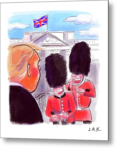 Captionless Metal Print featuring the painting Presidential Visit to the UK by Jason Adam Katzenstein