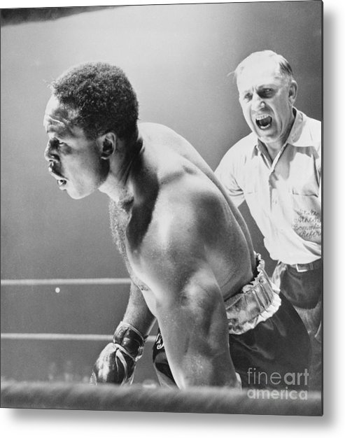 Mature Adult Metal Print featuring the photograph Referee Counting As Boxer Archie Moore by Bettmann