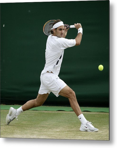 Sjeng Schalken Metal Print featuring the photograph Roger Federer Of Switzerland In Action by Phil Cole