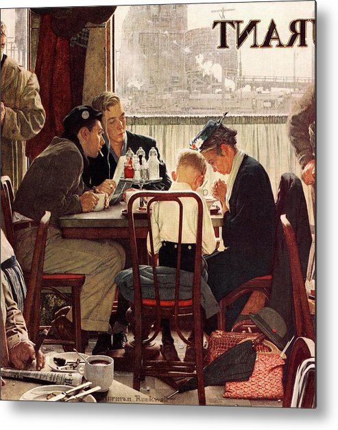 Eating Metal Print featuring the drawing Saying Grace by Norman Rockwell