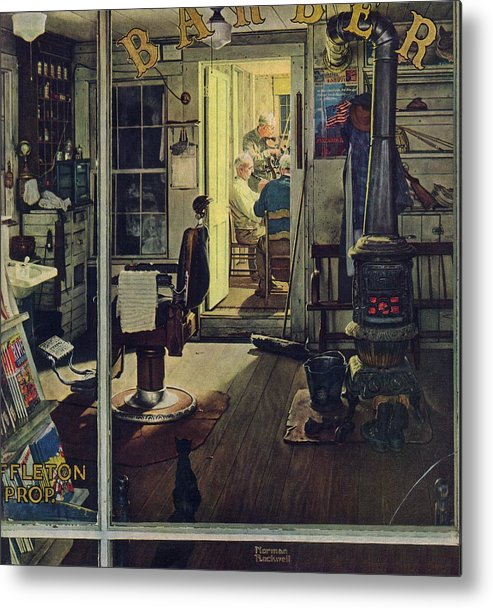 Barbers Metal Print featuring the drawing Shuffleton's Barbershop by Norman Rockwell