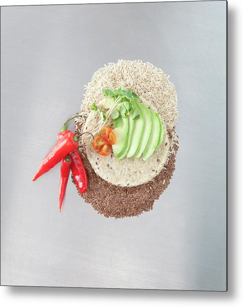 Flax Seed Metal Print featuring the photograph Sliced Avocado And Peppers With Grains by Laurie Castelli