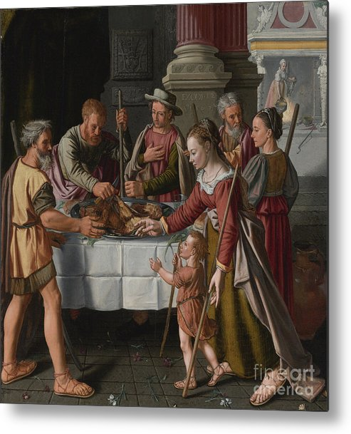 Banquet Metal Print featuring the drawing The First Passover Feast by Heritage Images
