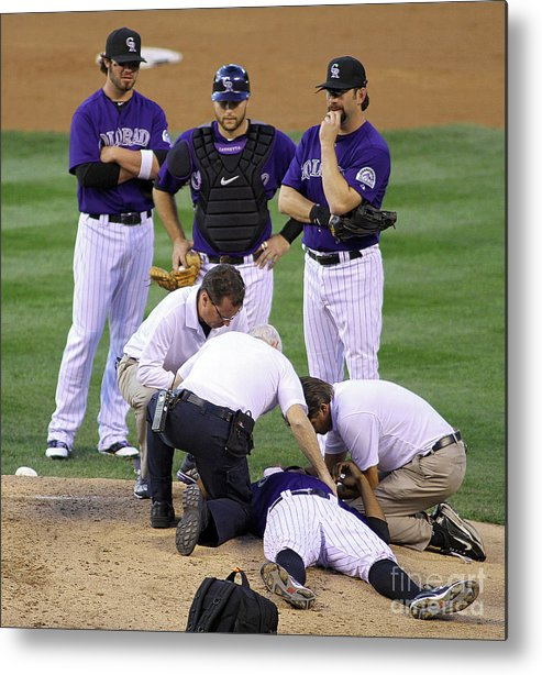 Sports Ball Metal Print featuring the photograph Washington Nationals V Colorado Rockies by Marc Piscotty