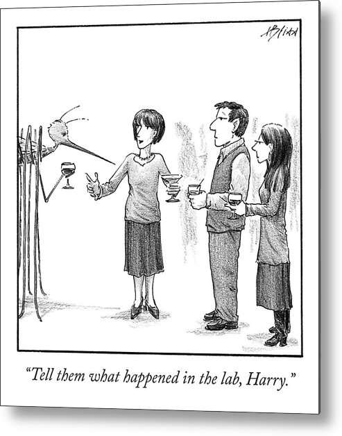 Cctk Metal Print featuring the drawing What Happened in the Lab by Harry Bliss