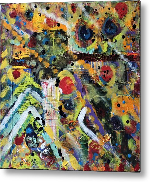 Nature Metal Print featuring the painting Who What Where by Pam Roth O'Mara