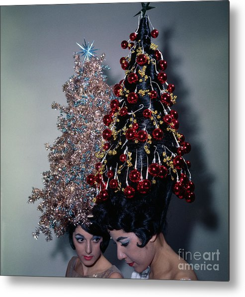 People Metal Print featuring the photograph Women Modeling Festive Christmas Hairdos by Bettmann