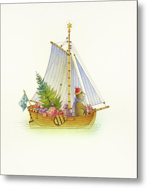 Boat Sea Winter Water Christmas Holydays Christmascards Metal Print featuring the drawing Christmas boat by Kestutis Kasparavicius