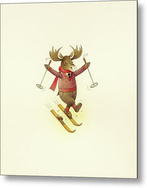 Moose Animals Winter Snow Skiing Christmas Holydays Metal Print featuring the drawing Moose by Kestutis Kasparavicius