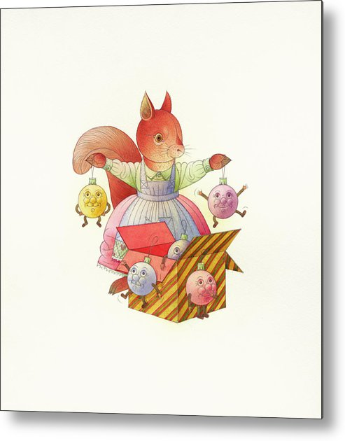 Squirrel Animals Winter Christmas Christmastree Christmastoys Holydays Metal Print featuring the drawing Squirrel by Kestutis Kasparavicius