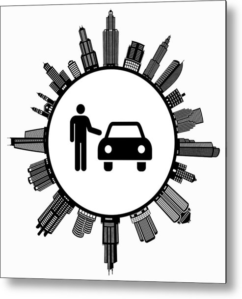 White Background Metal Print featuring the drawing Car Dealer on Modern Cityscape Skyline Background by Bubaone