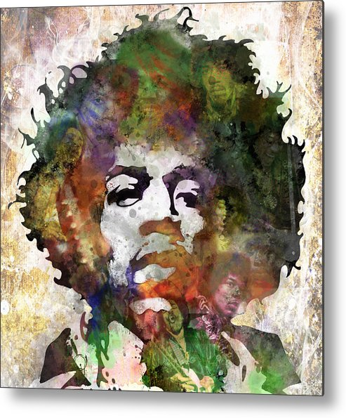 Jimi Hendrix Metal Print featuring the painting Jimi Hendrix by Bobby Zeik