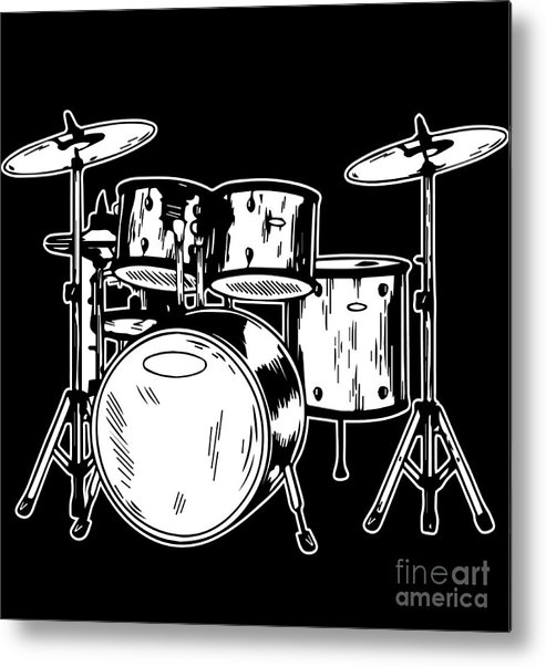 Drummer Metal Print featuring the digital art Tempo Music Band Percussion Drum Set Drummer Gift by Haselshirt