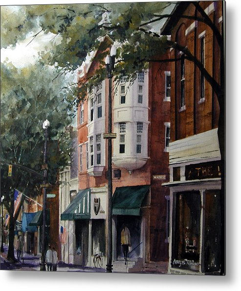 Westerville Metal Print featuring the painting Uptown Westerville, OH - State and Main by Charles Rowland