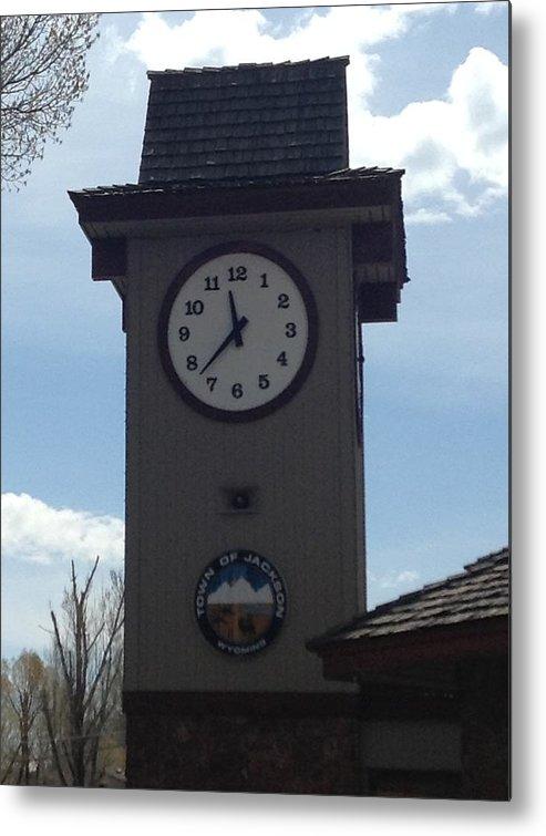 City Of Jackson Hole Wyoming Clock Metal Print featuring the photograph City Of Jackson Hole Clock by Shawn Hughes