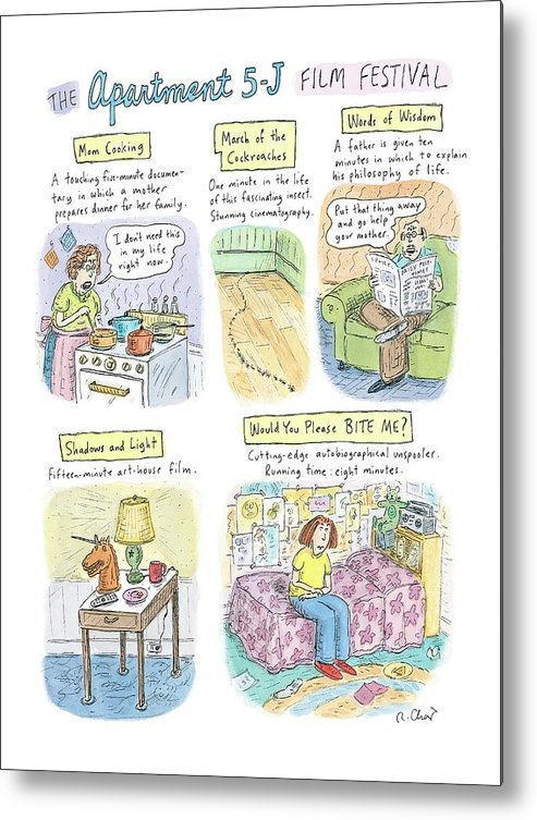 Movies Metal Print featuring the drawing New Yorker September 18th, 2006 by Roz Chast