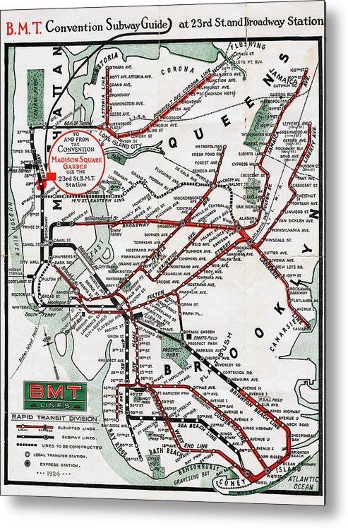 Bmt Subway Map.1924 Map Brooklyn Manhattan Transit Metal Print