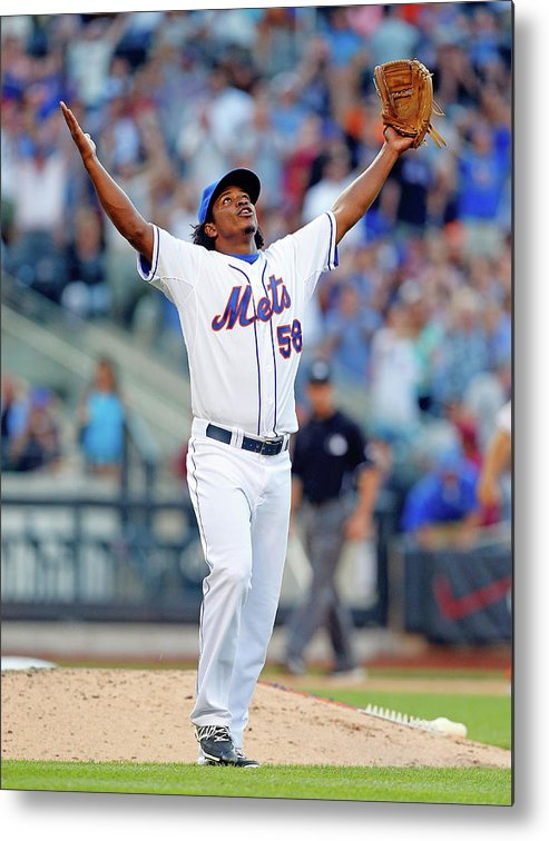 Celebration Metal Print featuring the photograph Miami Marlins V New York Mets by Jim Mcisaac