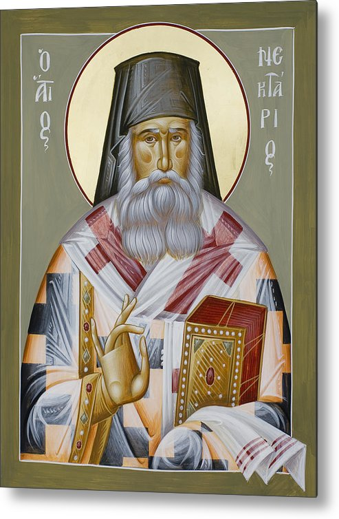 St Nektarios Of Aegina Metal Print featuring the painting St Nektarios Of Aegina by Julia Bridget Hayes