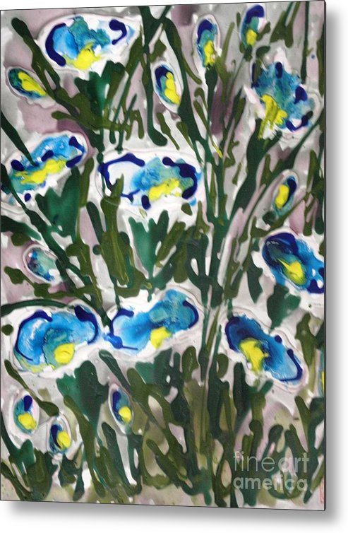 Floral Metal Print featuring the painting Zenmoksha Flowers by Baljit Chadha