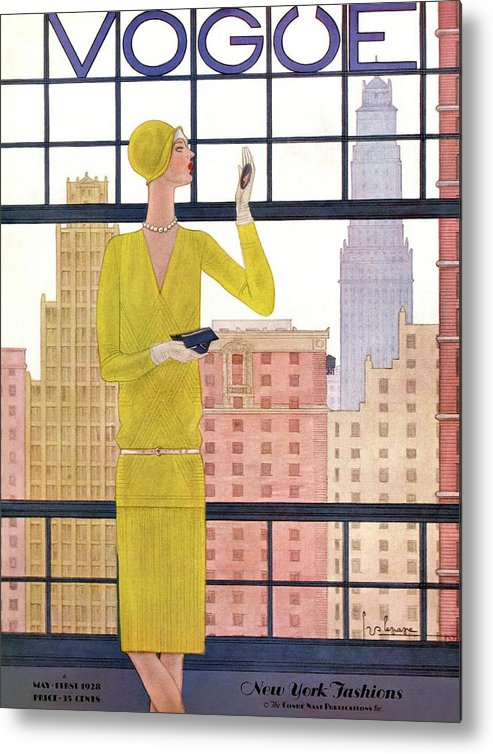 Cityscape Metal Print featuring the photograph A Vintage Vogue Magazine Cover Of A Woman by Georges Lepape