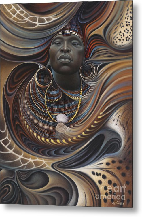 African Metal Print featuring the painting African Spirits I by Ricardo Chavez-Mendez