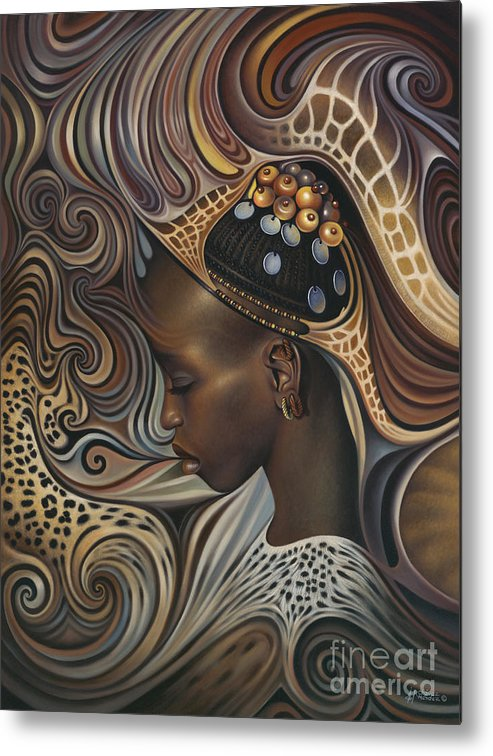 African Metal Print featuring the painting African Spirits II by Ricardo Chavez-Mendez