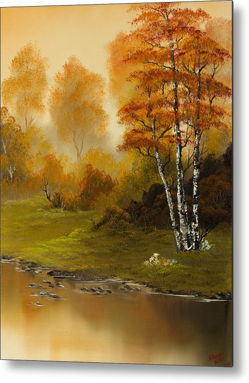 Landscape Metal Print featuring the painting Autumn Splendor by C Steele