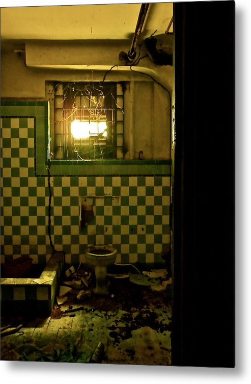 Vertical Metal Print featuring the photograph Bathroom Mess by Penelope Griffin-Rosado
