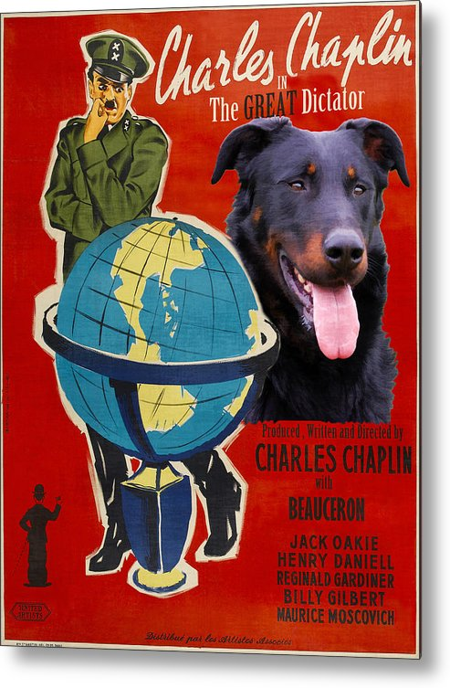 Beauceron Metal Print featuring the painting Beauceron Art Canvas Print - The Great Dictator Movie Poster by Sandra Sij