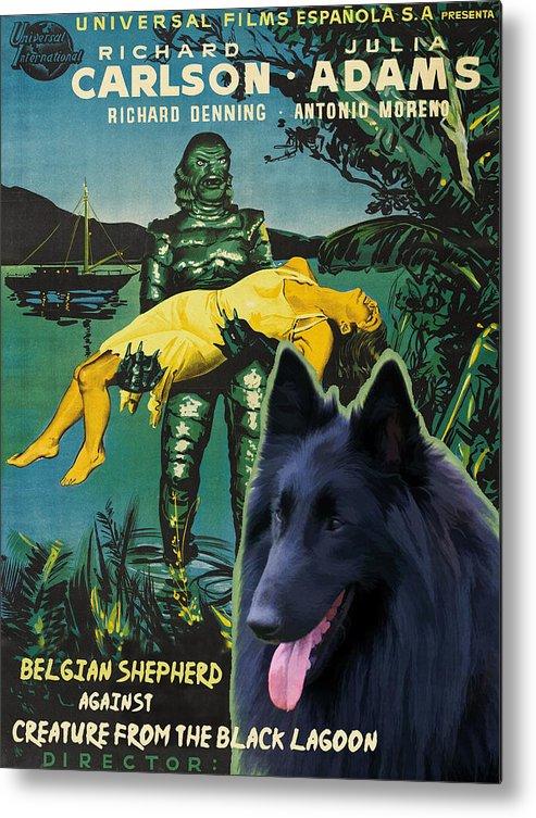 Belgian Shepherd Metal Print featuring the painting Belgian Shepherd Art Canvas Print - Creature From The Black Lagoon Movie Poster by Sandra Sij