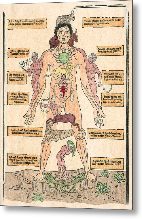 1493 Metal Print featuring the photograph Bloodletting Chart, 1493 by Granger
