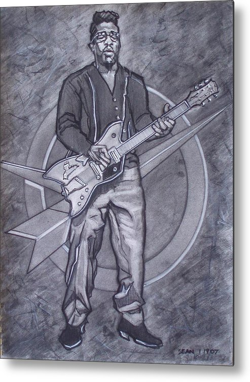 Texas;charcoal;king Of Rock;rock And Roll;music;1950s;blues;musician;funk;electric Guitar;marble;soul Metal Print featuring the drawing Bo Diddley - Have Guitar Will Travel by Sean Connolly