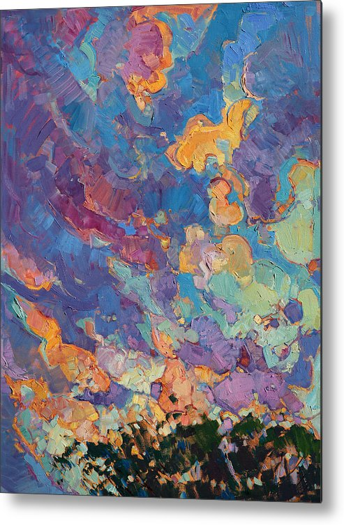 Paso Robles Metal Print featuring the painting California Sky Quadtych - Upper Left Panel by Erin Hanson