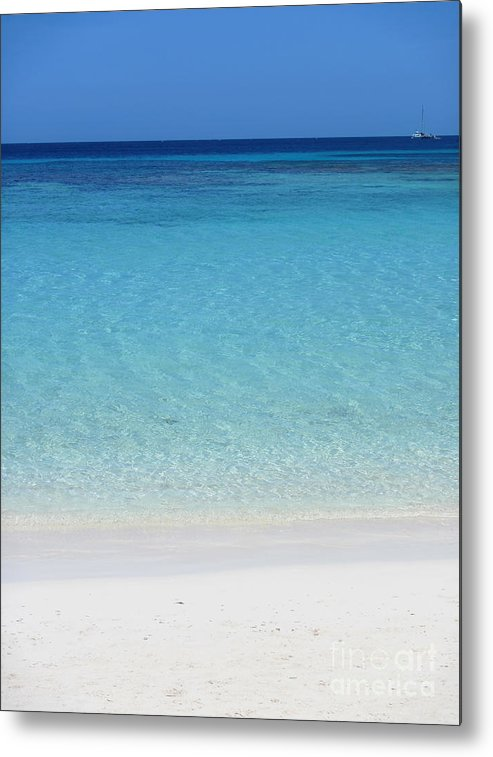 Roatan Metal Print featuring the photograph Caribbean Blues by Peggy Hughes